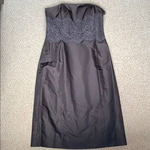 Ann Taylor brown silk dress with lace